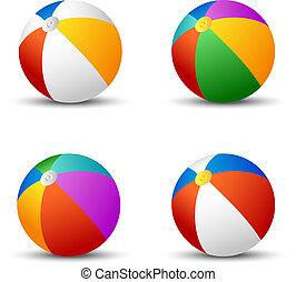 bolas, coloridos, isolado, praia branca, shadow.