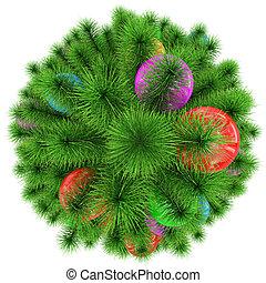 bolas, coloridos, topo árvore, -, isolado, natal, branca, decorado, vista