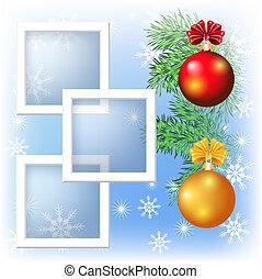 bolas, esquema, quadro fotografia, página, natal