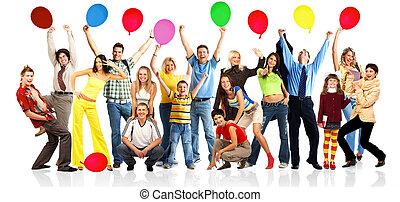 bolas, feliz, pessoas