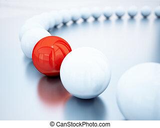 bolas, foco, obscurecido, bola, branco vermelho