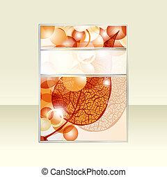 bolas, folha, texto, outono, luminoso, vetorial, voador, seu, fita