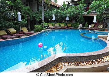 bolas, inflável, dois, água, transparente, piscina
