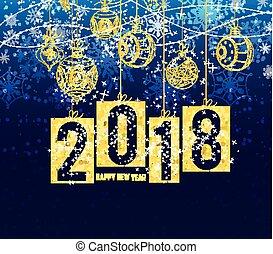 bolas, inverno, ouro, tema, 2018, fundo, ano, novo, natal, feliz