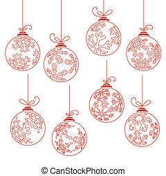 bolas, isolado, cobrança, natal, branca, contorno