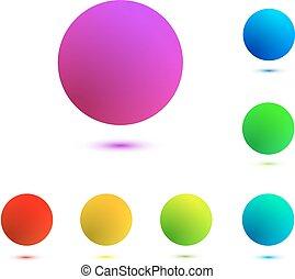 bolas, isolado, coloridos