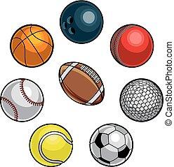 bolas, jogo, esportes