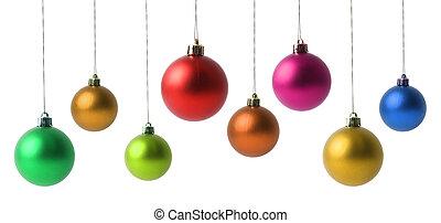 bolas, natal, isolado, branca