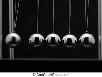 bolas, newton, metal, berço, closeup, balançando