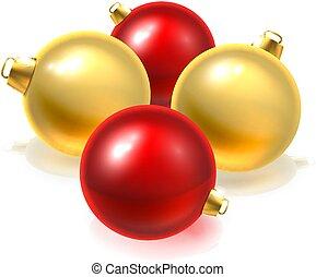 bolas, ouro, bauble, ornamentos, natal, vermelho