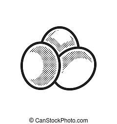 Bolas, pontilhado, fazenda,  3, desenho, ovo, ícone