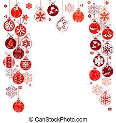 bolas, quadro, em branco, contorno, penduradas, natal