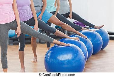 bolas, seção, estúdio, baixo, classe aptidão, exercício