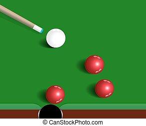 bolas, snooker, jogo, experiência verde, desporto, tabela