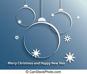 bolas, snowflakes, fundo, natal