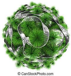 bolas, topo árvore, -, isolado, natal, decorado, branca, prata, fita, vista