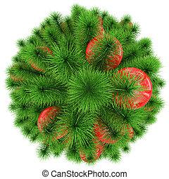 bolas, topo árvore, -, isolado, natal, branca, decorado, vermelho, vista