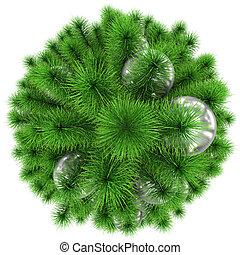 bolas, topo árvore, -, isolado, natal, decorado, branca, prata, vista