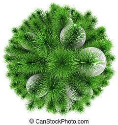 bolas, topo árvore, -, isolado, natal, branca, decorado, vista