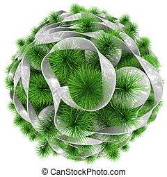 bolas, topo árvore, -, isolado, natal, branca, decorado, fita, vista