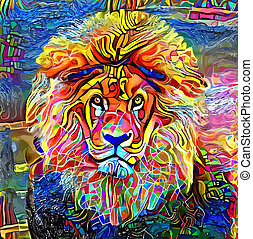 Bold as a Lion Abstract Portrait