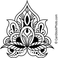 Bold black and white calligraphic floral design element in persian or indian style