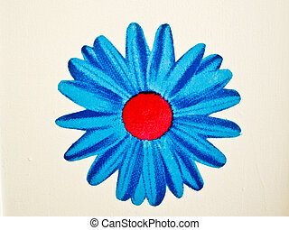 Bold Blue Flower on white wall