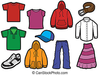 Vector illustration of eleven different clothes with bold outlines. All objects and details are isolated. Colors and transparent background color are easy customizable.