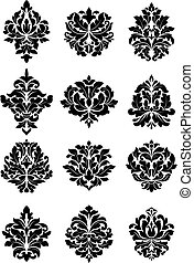 Large set of bold floral arabesque motifs suitable for damask style fabric and textile