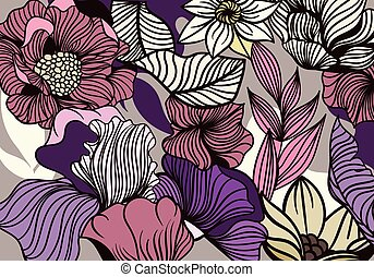 Bold Flower Pattern in full frame showing garden flowers and leaves in shades of purple, pink and yellow, colored vector illustration