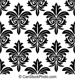 Bold foliate arabesque motif in black and white in a repeat seamless pattern suitable for damask style wallpaper and textile design