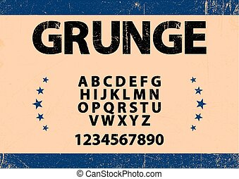 Bold font in grunge style and alphabet vector