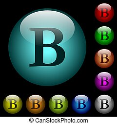 Bold font type icons in color illuminated glass buttons