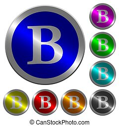 Bold font type luminous coin-like round color buttons
