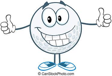 bold, golf, tommelfinger, opgivelse, smil