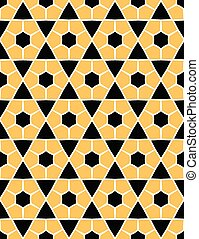 Bold hand drawn hexagon quilt. Vector pattern seamless background. Symmetry geometric abstract illustration. Trendy retro geo 1960s style home decor, decorative triangle fashion print, black yellow.