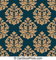 Bold heavy arabesque seamless pattern on blue