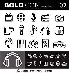 Bold line icons ,Entertainment set. Illustration eps 10
