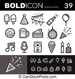 Bold line icons set.Illustration eps 10