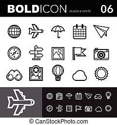 Bold line icons set.Illustration eps 10
