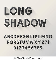 Bold Long Shadow Alphabet and Numbers, Eps 10 Vector...