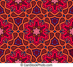 Bold pattern with Indian motifs - Floral seamless vector...