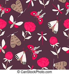 Bold pink flowers and butterflies, in an autumn seamless pattern