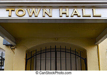Bold town hall sign at local government office