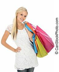 boldog, és, meglehetősen, fiatal, bevásárlás, nő