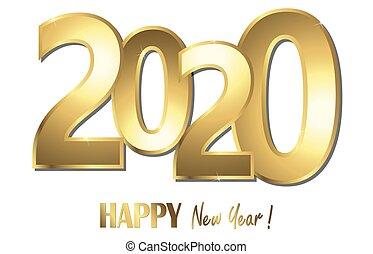 boldog, év, új, 2020, háttér, köszöntések