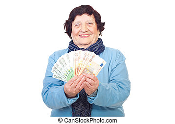 boldog, öreg woman, birtok, euro banknotes