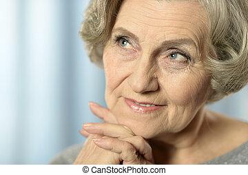 boldog, öreg woman