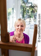 boldog, öregedő woman, festmény, helyett, móka, otthon