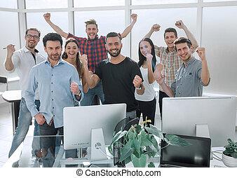 boldog, ügy sportcsapat, álló, alatt, modern, hivatal